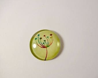 Large green cabochon - 25mm embellishment - jewelry creations - dandelion