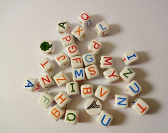 Set of 32 white square beads - cube - alphabet letters