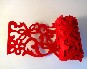 Band openwork red felt - Arabesque - home decor, embellishment