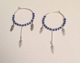 Silver earrings 925, glass beads, and 925 sterling silver feathers