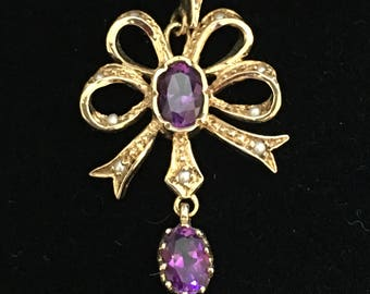 Edwardian 9ct Gold, Amethyst & Seed Pearl Pendant.