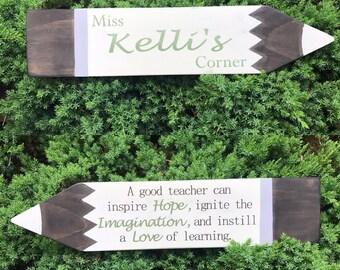 wood signs/ custom teacher gift/ made to order / handmade wood pencil