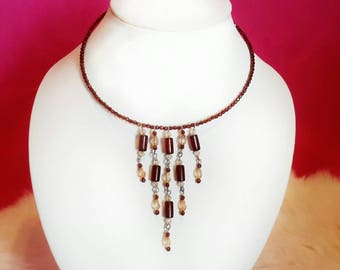 Brown Beaded Choker Necklace / V Neclace