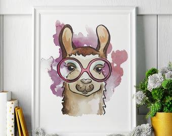 Llama - Watercolor Painting - Llama Art - Llama Painting - Llama Print - Animal Watercolor Print