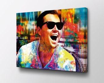 Laughing Leonardo DiCaprio - Wolf of Wall Street Canvas Art - Laughing Leo original design by Epik - Ready to Hang Modern Pop Art
