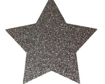 10 X 9.5 cm grey glittery star fusible pattern