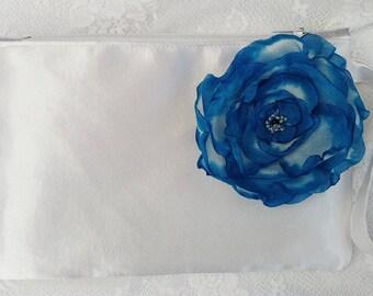Navy blue bridesmaid clutch Bridal clutch Bridesmaid purse Wedding clutch Bride clutch Bridesmaid bag Clutch flower Navy blue wedding Purse