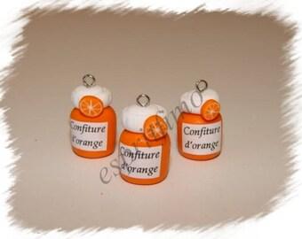 """Orange jam jar"" charm in polymer clay"