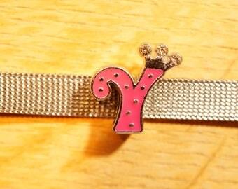 Pearl Crown width letter Y fuchsia alphabet for bracelet