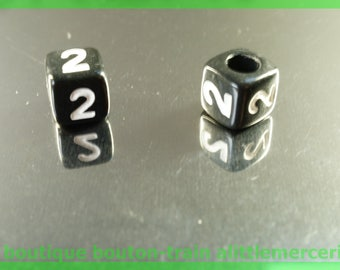 number 2 cube bead 6 mm black and white plastic