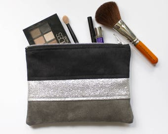 Black, grey and silver cosmetic case