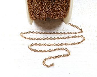 2 meters of copper colored metal chain +/-3 x 2.5 mm