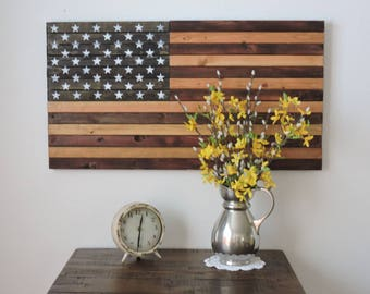 "Large Rustic Stained Wooden American Flag Wall Art/Decor. Approx. 36""x20"" and 10-12 pounds."