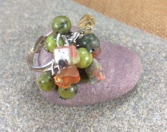 Citrine, yellow turquoise ad agate gemstone cluster ring (adjustable multi size) with  silver plated  base