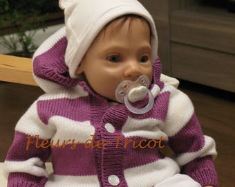 Striped baby Cardigan purple and white