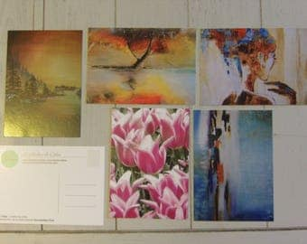 Set of 5 postcards 10.5 x 14.8 cm (5 designs available and other options)