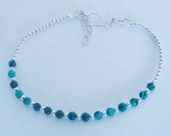 Natural Malachite Bracelet Sterling Silver-Minimalist Bracelet-925 Silver Bracelet-Delicate Bracelet-Genuine Gemstone Bracelet-Gift For Her