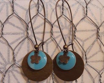 Enamel and brass dangle earrings