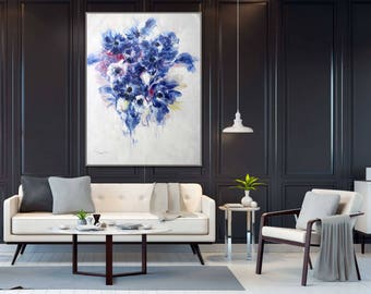 "Blue Flower in White background 36x48""/90x120cm Modern Oil Painting"