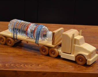 Handmade Wooden Tractor and Flatbed Trailer