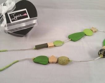 Long Green Timber Necklace