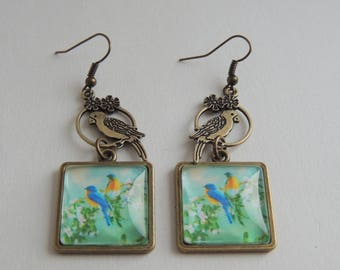 """""""Les Inséparables"""" Cabochon earrings birds branch blue green Orange"""