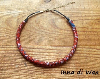 Maasai style necklace made of wax (African fabric) 22024
