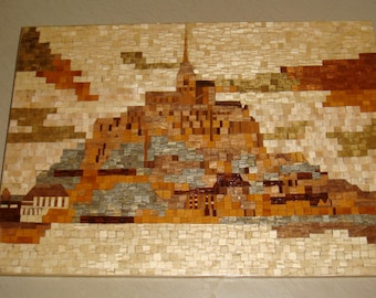 Mont saint michel plating pointillist painting style