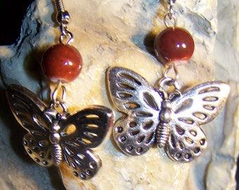 fancy model Butterfly & brown glass beads earrings