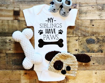 My Siblings Have Paws Baby Bodysuit, Baby Boy, Baby Girl, Unisex, Baby Clothes, Baby Gift, Baby Shower, Dogs, Siblings