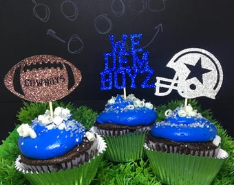Cowboys cupcake toppers, football cupcake toppers