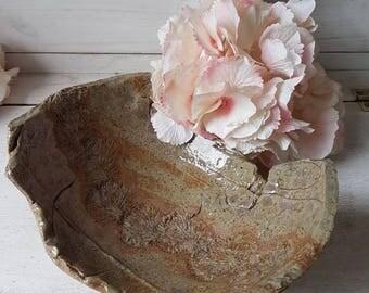 Handmade ceramic dish bowl - singular dandelion in brown tones. Jewellery dish.