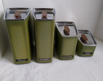 Vintage Mid Century Lincoln Beautyware Metal Canister Set, Avocado Green