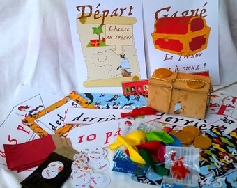 Accessories and treasure pirate with treasure hunting for 8 children