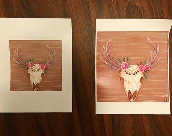 Boho Skull Print- 6x6