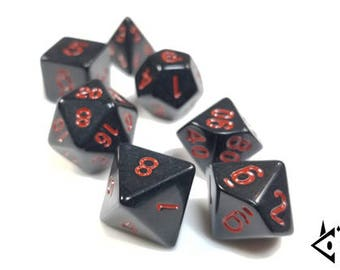 """DnD Dice Set Black Red """"Death's Bargain"""" RPG dice D&D dice Polyhedral dice, Dungeons and Dragons Pathfinder critical gothic stealth critical"""