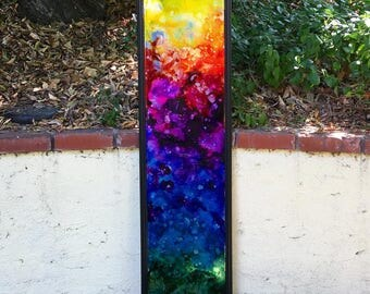 Technicolor- Original rainbow abstract fluid art alcohol ink resin painting with black frame