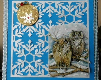 card 3D couple of owls on snowy branch