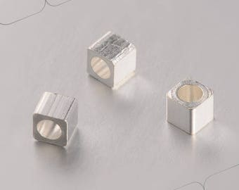 Set of 10 silver plated brass beads, cube, 3 x 3 mm, hole 1.5 mm