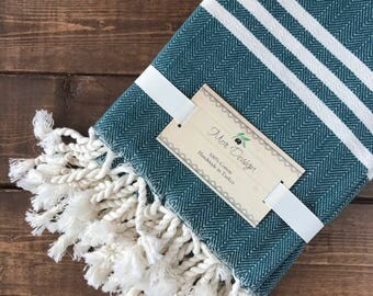 Turkish Hand Towel - Set of Two (Oil Green)