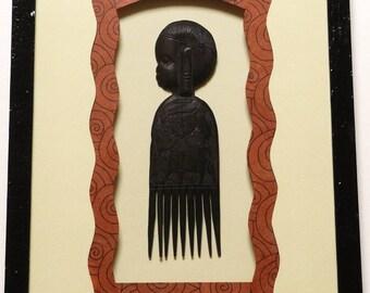 African comb - fancy bevel nested frame