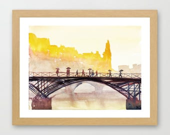 Paris painting - Original painting - France fine art - Colorful Paris art - Watercolor sunset bridge - Romantic French art