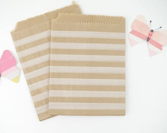 Bags (x 10) kraft paper printed white horizontal stripes 12 x 14 cm for gifts, jewelry, favors, christening, clutch
