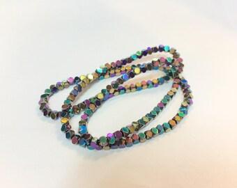 140 perles cubes 3mm en hématite vitrail pour créations de bijoux