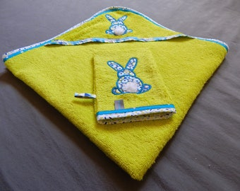 Bunny embroidered washcloth and bath
