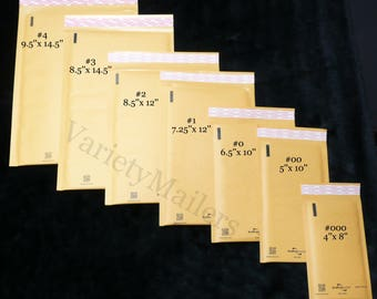 21 Kraft Bubble Postal Envelope Mailer Variety Pack ~ 7 SIZES ~ Made in the USA!