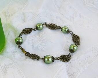 retro green and bronze style bracelet