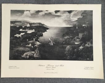 Patinir. Heaven and Hell. 1920's antique print