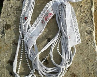grey shabby chic Pearl Ribbon necklace
