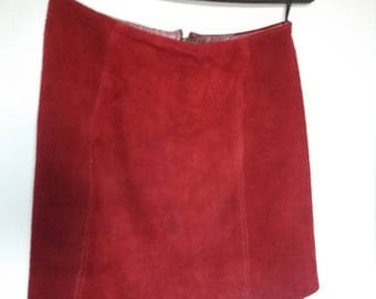 Vintage Red Suede Leather Mini Skirt